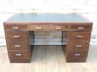Solid wooden 3 part pedestal desk Retro (Delivery)