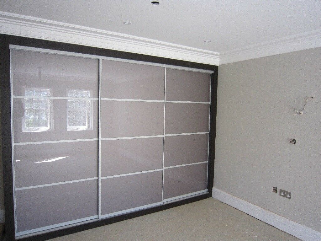 Sliding Wardrobe Mirror Glass Wood Doors Bespoke Ed Made To Measure