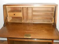 Solid Oak bookcase/writing bureau