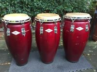 Three PJ, Session Line, Congas – 11inches, 11.5 inches and 12 inches, Wooden For Sale