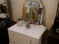 Hand painted 50's dressing table with lovely mirror.