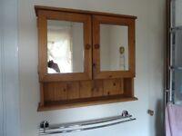 Vintage Solid Pine Bathroom Wall Cabinet with 2 Mirrored Doors, 2 Inner Shelves & 1 Shelf Below