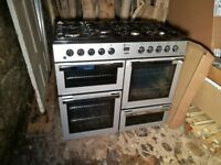 STUNNING 1 YEAR OLD GAS FLUVEL RANGE COOKER. AS NEW. FREE LOCAL DELIVERY