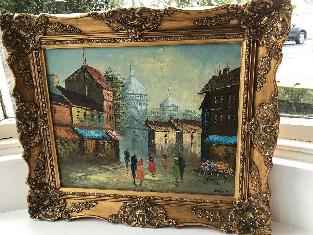 Vintage oil painting in gold tilt coloured frame by Olivier dated ...