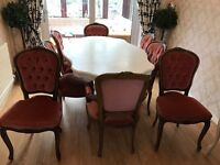 Beautiful French Louis/Rococo Dining table & 8 x chairs shabby chic project