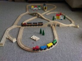 Wooden Train Set with 2 Trains and Accessories