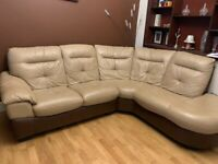 Dfs brown leather L shape sofa used for 6 months