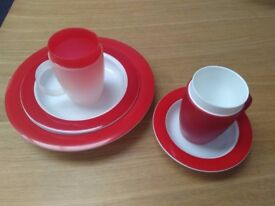 Red Onamin High Quality 5 piece set ~ Eating and Drinking aid ~with internal cones and sloped plates