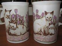 2 x Dunoon Vintage Stoneware cats mugs