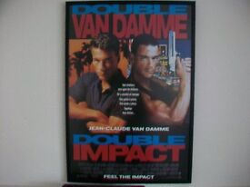 JEAN-CLAUDE VAN DAMME.DOUBLE IMPACT. RARE FRAMED LARGE FILM POSTER.