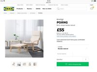 Ikea Poang Cream Covered Chairs