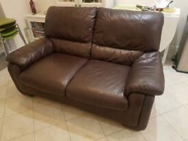 Leather two seater sofa - dark brown great condition