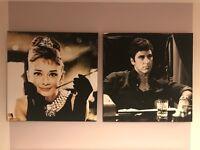 Large pair canvas prints - Audrey Hepburn & -Al Pacino