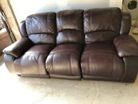 CAN DELIVER- BURGUNDY LEATHER 3 SEATER RECLINER LAZY BOY SOFA