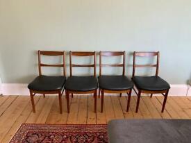 4 Vintage AH McIntosh Mid Century Teak Dining Chairs