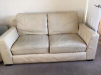 Cream Leather Sofa and Chair - FREE