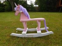 Child's Wooden Rocking Horse/Pony/Unicorn in very good condition. Personalised with the name Emma.