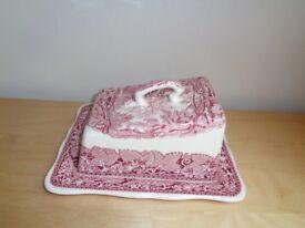 Vintage Mason's large Pink/Ivory English VISTA patterned Cheese dish