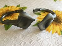 Vintage Art Deco style pewter wall brackets for curtain tie backs