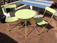 Folding bistro patio table and chair set