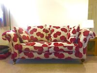 2 seater comfy sofa - red and cream floral