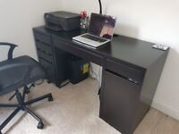 Black ikea desk and drawers