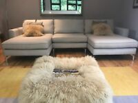 Pale grey double chaise sofa stunning hardly used