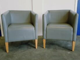MORGAN FURNITURE ARENA LOUNGE CHAIR SET DESIGNER GREY LEATHER ARMCHAIR SET DELIVERY AVAILABLE