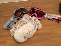Girls Roxy Ski Gloves (medium) and two pairs ski goggles