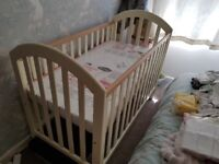 Brand new baby cot with mattress