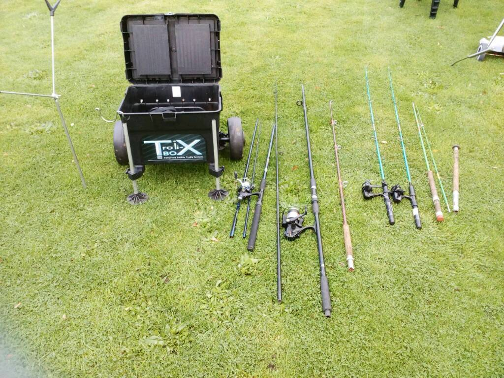 Various fishing rods, reels, fishing seat box
