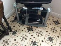 CORNER TV STAND, METAL AND GLASS