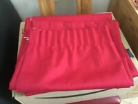 "Red pencil pleat curtains 66"" by 54"" fully lined"