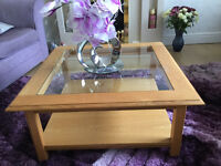 SOLID MEDIUM OAK AND GLASS COFFEE TABLE