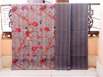 Bird Gray Crazy Kantha Quilt Indian Handmade Blanket Cotton King Size Bedspread