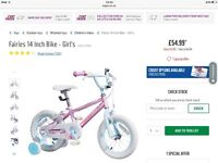 "Cheap Girls Fairy 14"" bike with stabilisers, bell and reflectors. Used at most ten times."