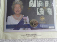 First Day Cover Queen's Golden Jubilee with 22 Carat Gold Foiled Coin.