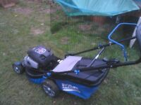 lawnmower petrol with grass basket runs very well