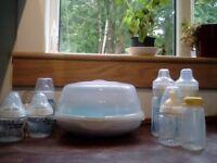 Baby bottles and microwave steriliser