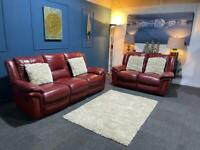 Red leather recliner suite. 3 + 2 seater sofas