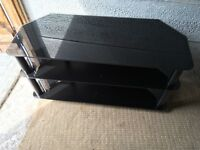 Black Glass 3Tier TV Stand in Chrome Like New Great Condition