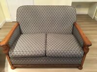 1920s re-upholstered compact three piece suite
