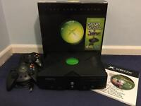 Original Microsoft Xbox with box and controllers