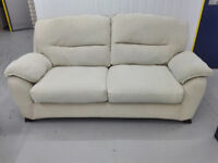 Fabric oatmeal 3 seater sofa settee in very good condition / free delivery