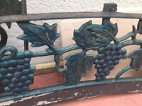 2 SETS OF CAST IRON BENCH ENDS AND BACKS WITH GRAPE DESIGN