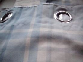 Curtains , Harbour Check , duck egg blue / cream with chrome eyelets, fully lined, winter weight .