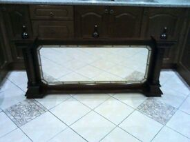 Over mantal mirror mahogany 59 inches wide by 26.5 high