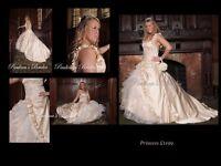 Stunning Unique Champagne colour Wedding Dress RRP £1199, Size 12-14
