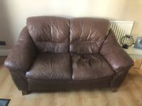 2x two seater leather sofas