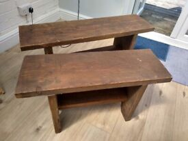 Vintage / rustic chunky wooden benches / stools, shabby chic